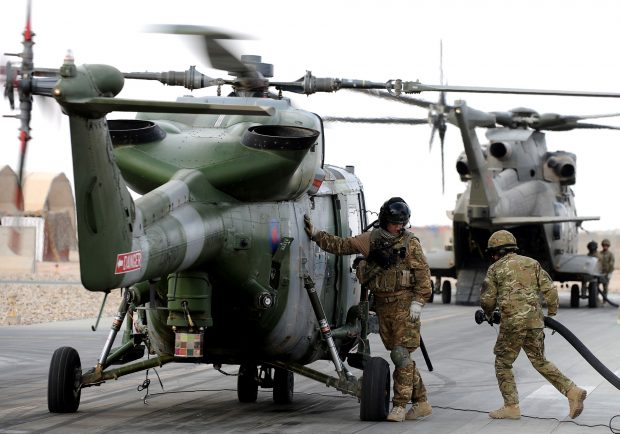 An Army Air Corps Lynx Mk9A helicopter is pictured at a refuelling point on Camp Bastion airfield, Afghanistan.